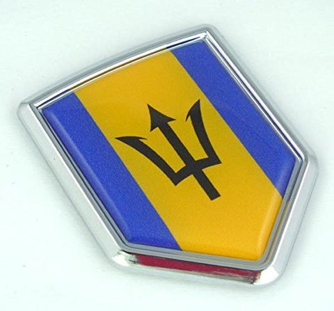 Barbados Barbadian Flag Chrom Crest Emblem Chrome Car Decal Bumper auto Sticker