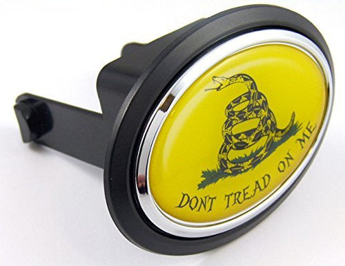 "Don't tread on me Flag Hitch Cover cap 2"" receiver black with chrome & dome"