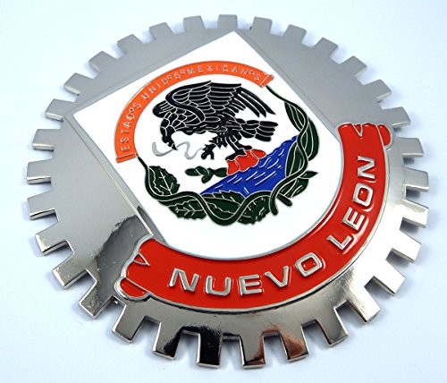 Nuevo Leon Mexico Grille Badge for car Truck Grill Mount Mexican Flag