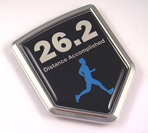 Marathon MEN 26.2 Runner Flag Emblem Chrome Car Decal Distance Accomplished