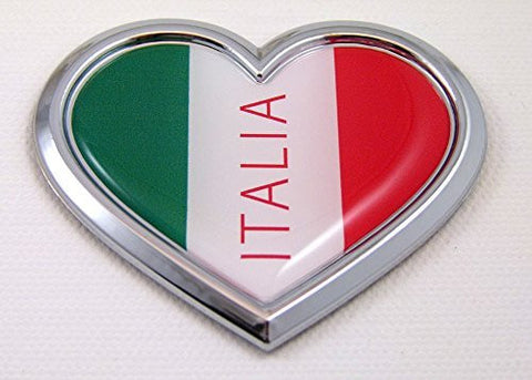 Car Chrome Decals CBHRT101 Italia HEART Flag Chrome Emblem Car Decal 3D Sticker Badge Bumper Italian Italy