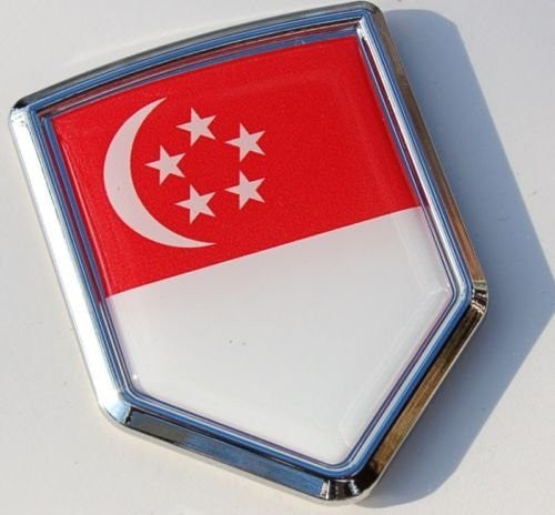Singapore Decal Flag Car Chrome Emblem Sticker