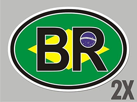 2 Brazil Brazilian BR OVAL stickers flag decal bumper car bike emblem CL009