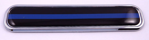 Thin Blue line Police Flag Chrome Emblem 3D auto Decal car Bike Boat 5.3""