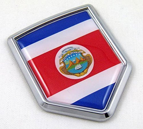 Costa Rica Flag Emblem Chrome Car Decal Costa Rican 3D sticker with dome decal