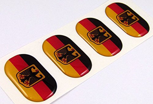 "Germany Deutschland midi domed decals flag 4 emblems 1.5"" Car bike stickers"