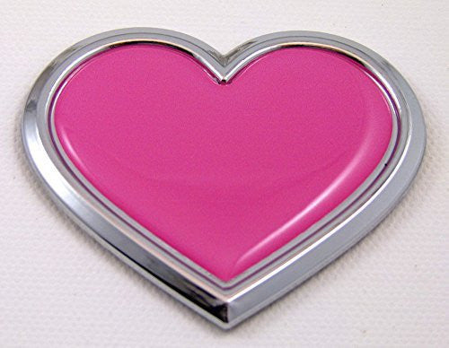 Car Chrome Decals CBHTR-PINK Chrome with PINK HEART Chrome Emblem Car Decal 3D Sticker Badge Bumper Love Pink
