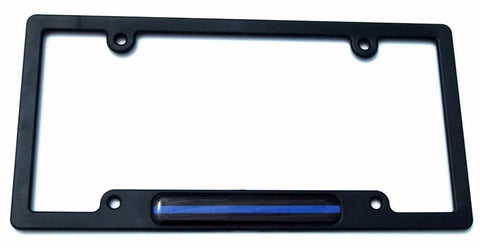 Police Thin Blue line Flag Black Plastic Car License Plate Frame Dome Decal