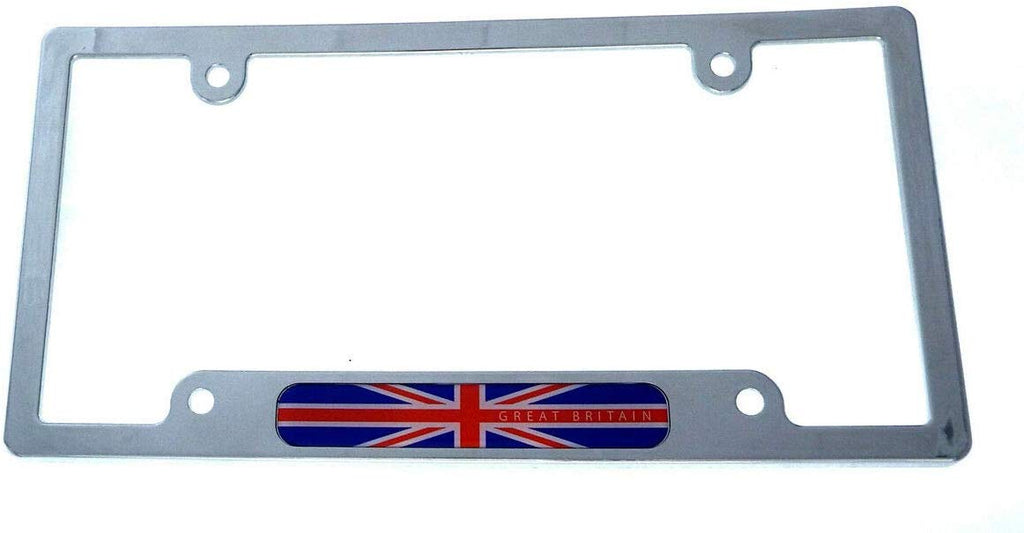 Great Britain British Flag car License Plate Frame Chrome Plated Plastic CP08