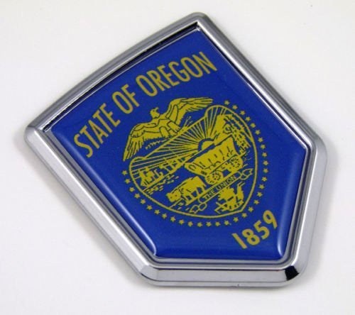 Oregon OR USA State Flag Car Chrome Emblem Decal Sticker bike laptop boat 3dd Sticker badge