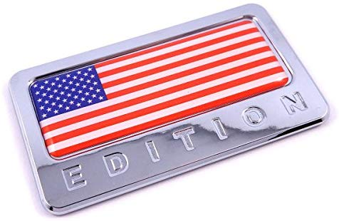 USA Edition with American Flag Chrome Emblem 3D Decal Car Bike Badge