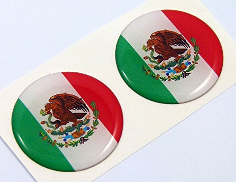 "Mexico Mexican flag Round domed decal 2 emblem Car bike stickers 1.45"" PAIR"