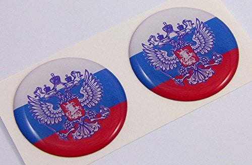 "Russia Russian flag Round domed decal 2 emblem Car bike stickers 1.45"" PAIR"