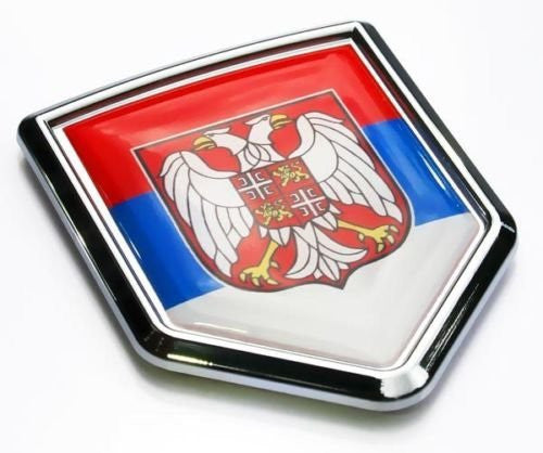 Car Chrome Decals CBSHD187 Serbia Flag Serbian Emblem Chrome Car Decal Sticker