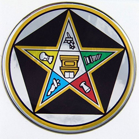 Eastern Star Masonic Emblem domed decal on chrome Bike Motorcycle Car 62mm