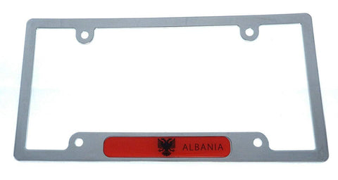 Albania Flag License Plate Frame Plastic Chrome Plated tag Holder Cover CP08