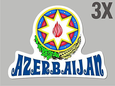 3 Azerbaijan shaped stickers flag crest decal car bike emblem vinyl CN042