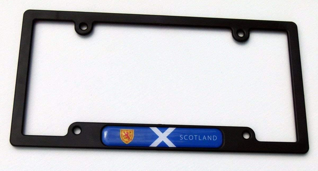 Scotland Scottish Flag Black Plastic Car License Plate Frame Dome Decal