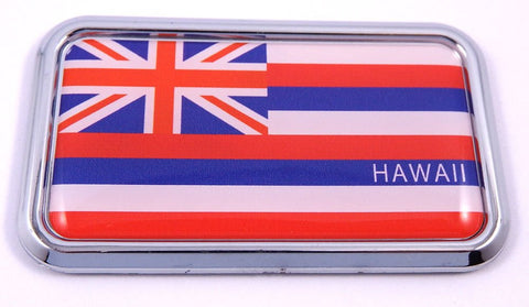 "Hawaii Flag rectanguglar Chrome Emblem 3D Car Decal Sticker 3"" x 1.75"""