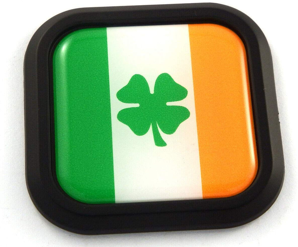 Ireland Shamrock Flag Square Black rim Emblem Car 3D Decal Badge Bumper 2""