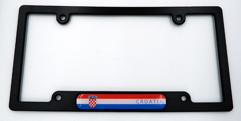 Croatia Black Plastic Car License Plate Frame with Domed Decal Insert Flag