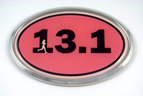 13.1 Half Marathon Runner Emblem Chrome car Decal Pink auto Dome Sticker Woman Sport