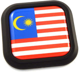 Malaysia Flag Square Black rim Emblem Car 3D Decal Badge Hood Bumper sticker 2""