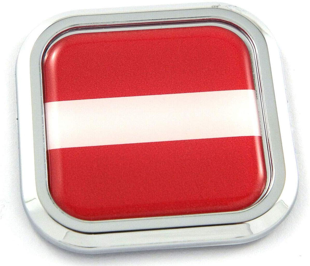 Latvia Flag Square Chrome rim Emblem Car 3D Decal Badge Hood Bumper sticker 2""