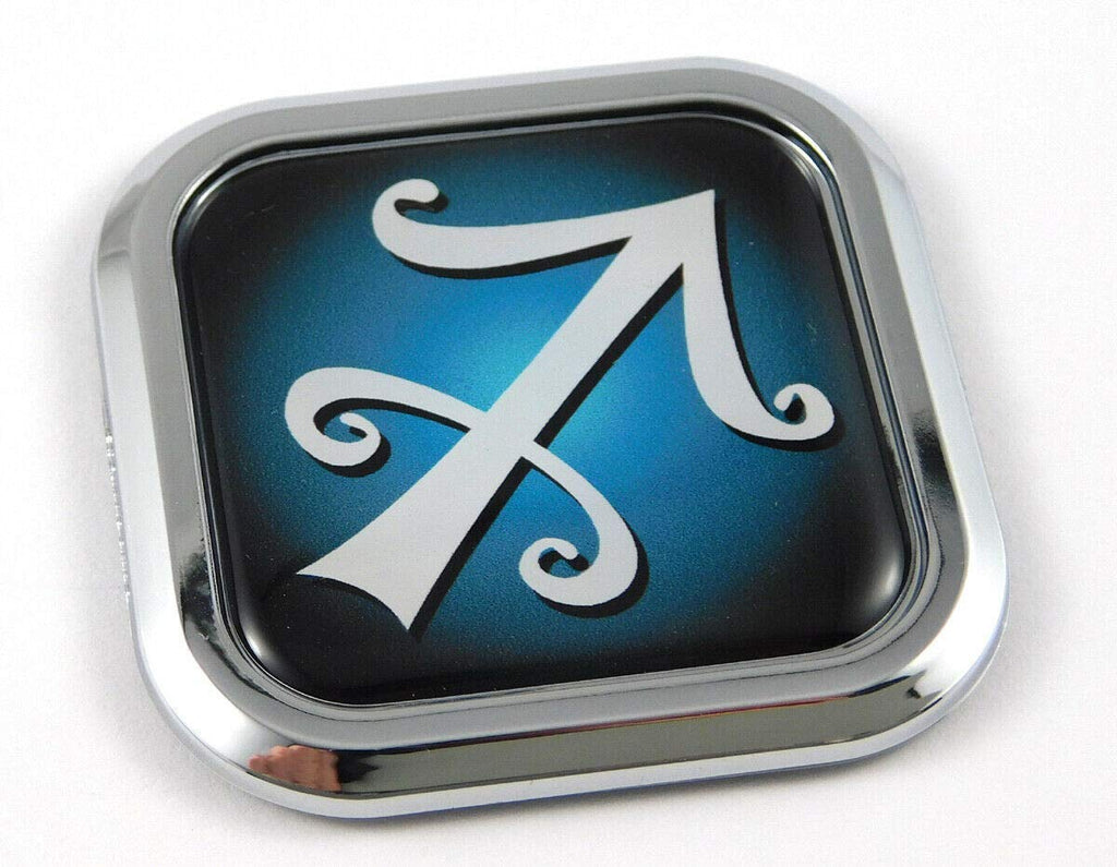Sagittarius Zodiac Square Chrome rim Emblem Car 3D Decal Badge Bumper sticker 2""