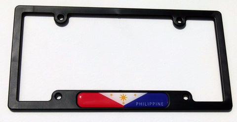 Philippine Flag Black Plastic Car License Plate Frame Domed Decal Philippines