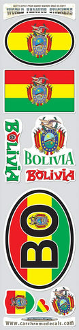 Bolivia 9 Stickers Set Flag Decal Bumper stiker car Bike Laptop