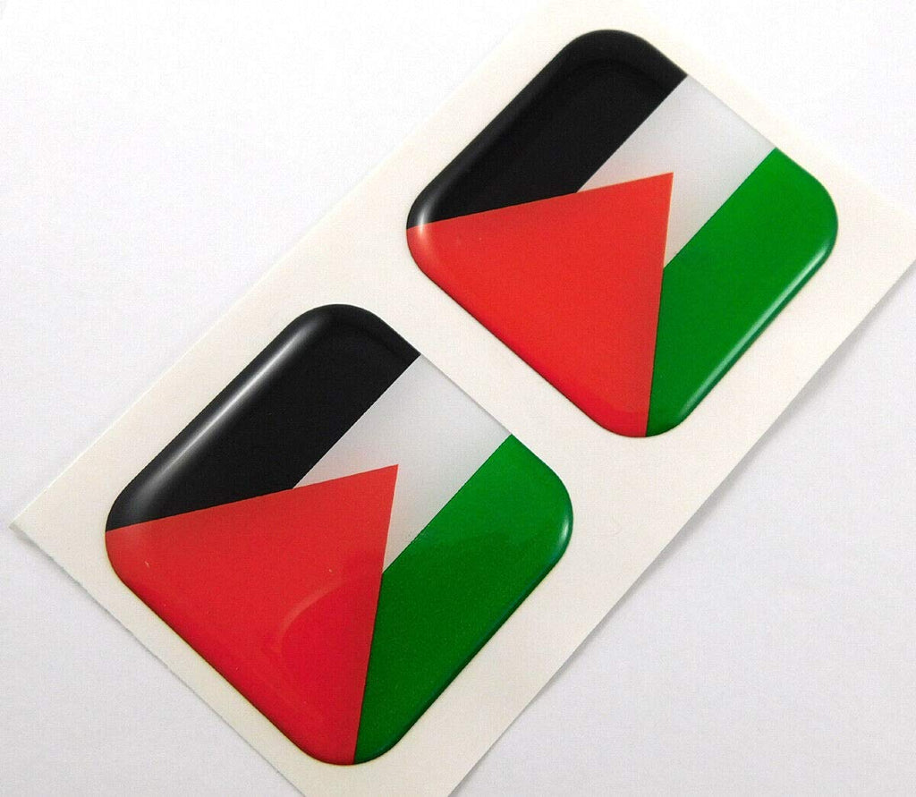 "Palestine Flag Square Domed Decal car Bike Gel Stickers 1.5"" 2pc"