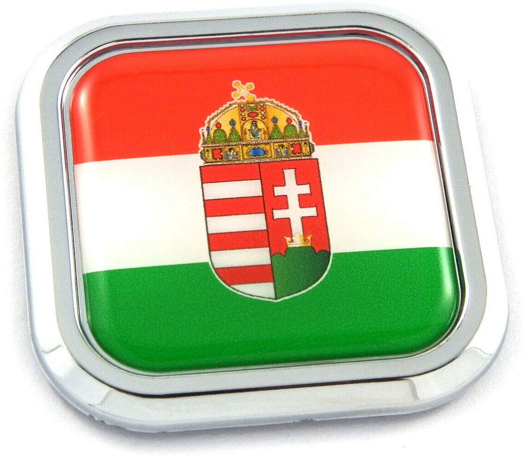 Hungary Flag Square Chrome rim Emblem Car 3D Decal Badge Hood Bumper sticker 2""