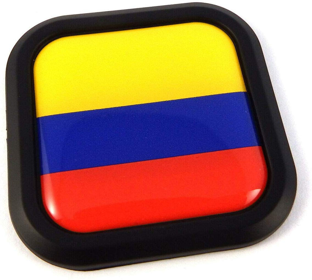 ColOmbia Flag Square Black rim Emblem Car 3D Decal Badge Hood Bumper sticker 2""