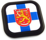 Finland Flag Square Black rim Emblem Car 3D Decal Badge Hood Bumper sticker 2""