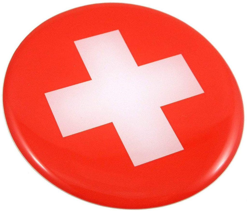 Swiss Switzerland Flag Round Domed Decal Emblem Car Bike 3D Sticker 2.44""