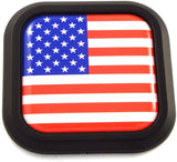 USA America Flag Square Black rim Emblem Car 3D Decal Badge Bumper sticker 2""