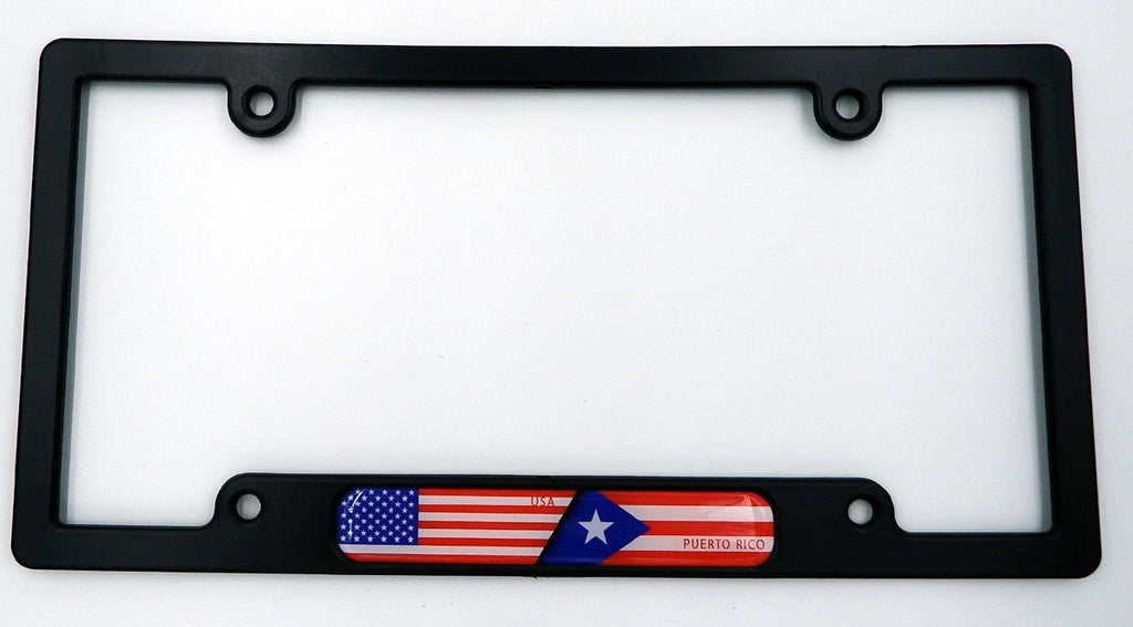 USA/Puerto Rico Black Plastic Car License Plate Frame