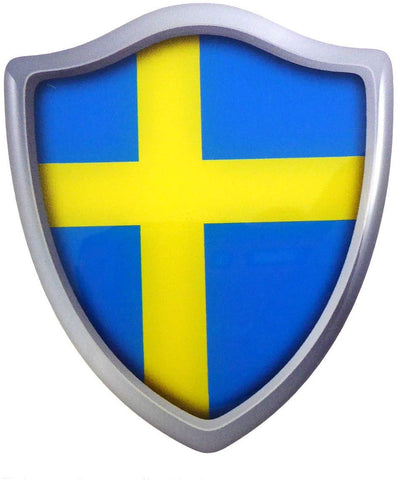 "Sweden Swedish Shield Domed Decal 3D Look Edge Emblem Resin car Sticker 2.6""x3"""