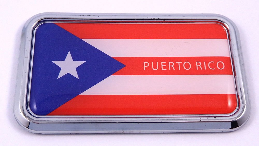 "Puerto Rico Rican Flag rectanguglar Chrome Emblem 3D Car Decal Sticker 3""x1.75"""