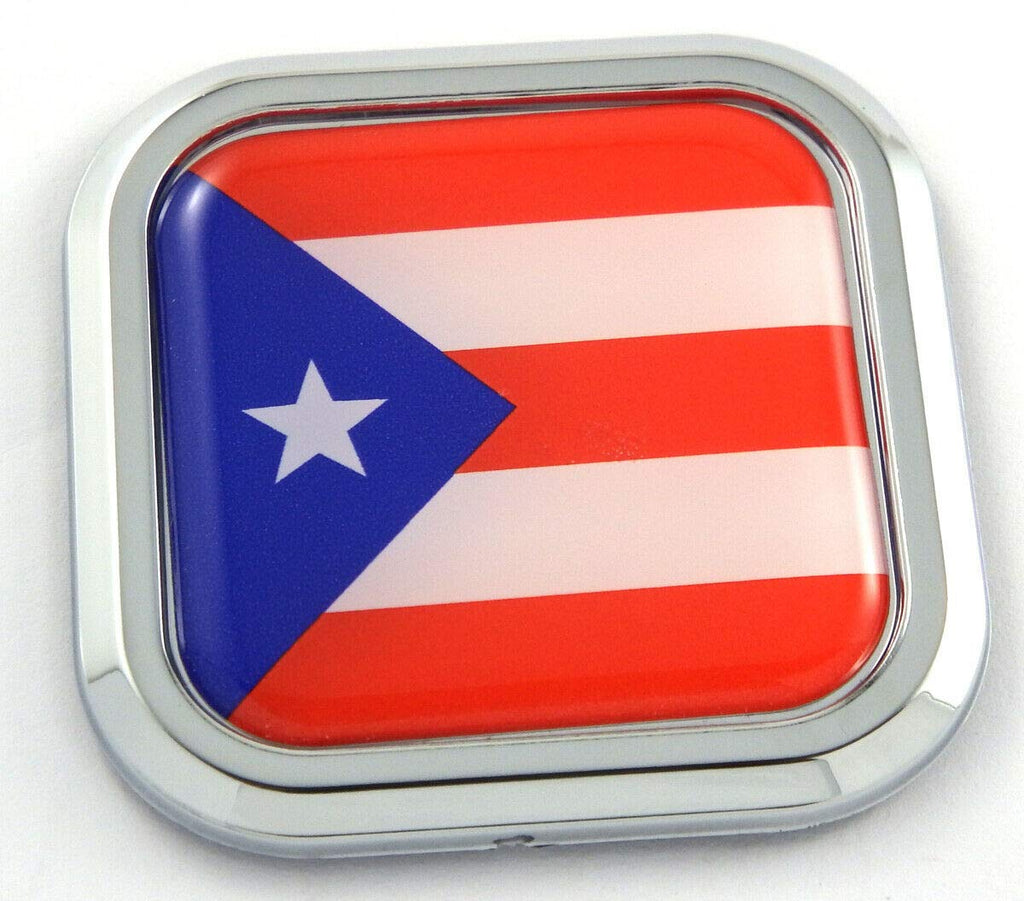 Puerto Rico Flag Square Chrome rim Emblem Car 3D Decal Badge Bumper sticker 2""