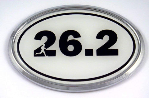 26.2 Marathon Runner Emblem Chrome Decal with Dome Sticker Medallion Sport