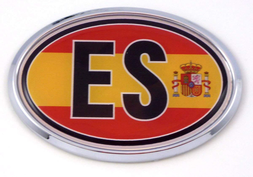 Spain ES Spanish Flag Car Chrome Emblem Bumper Sticker Flag Decal Oval