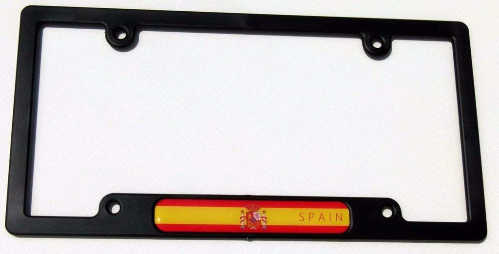 Spain Spanish Flames Flag Black Plastic Car License Plate Frame Dome Decal