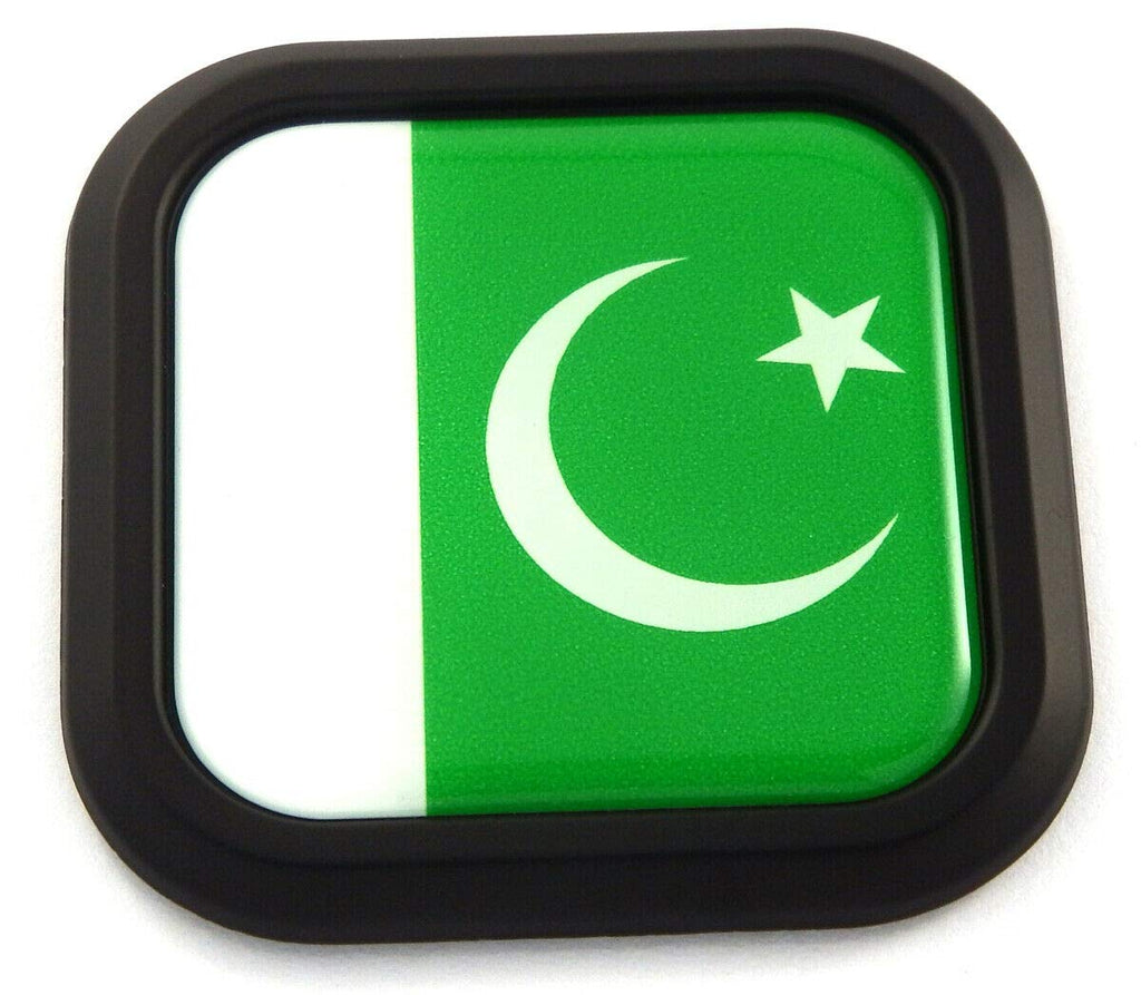 Pakistan Flag Square Black rim Emblem Car 3D Decal Badge Hood Bumper sticker 2""