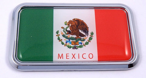 "Mexico Mexican Flag rectanguglar Chrome Emblem 3D Car Decal Sticker 3"" x 1.75"""