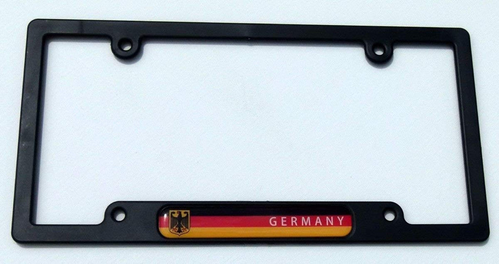 Germany German Flag Black Plastic Car License Plate Frame Domed Colour Lens