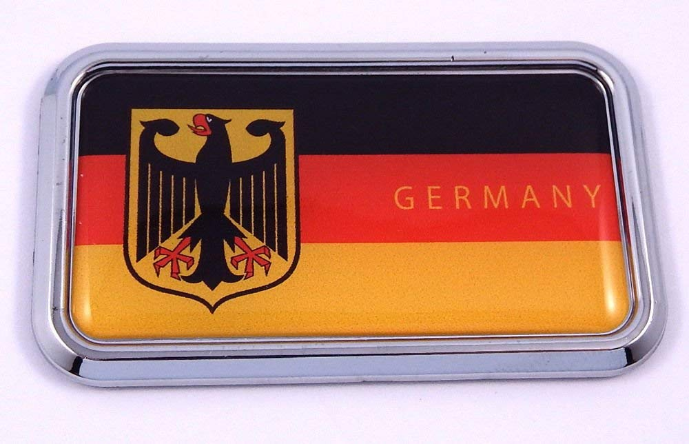 "Germany Deutschland flag rectanguglar Chrome Emblem Car Decal Sticker 3"" x 1.75"""