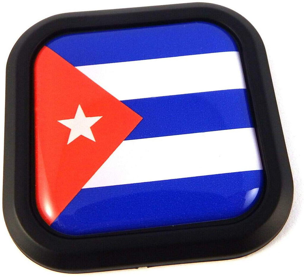 Cuba Flag Square Black rim Emblem Car 3D Decal Badge Hood Bumper sticker 2""