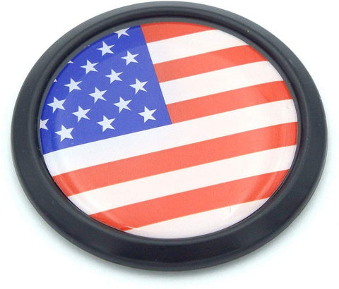 USA American Black Round Flag Car Decal Emblem Bumper 3D Sticker 1.85""